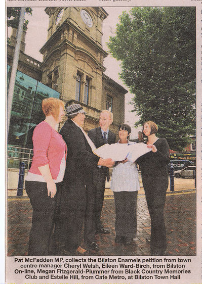 Pat McFadden MP, collects the Bilston Enamels petition from town centre manager Cheryl Welsh,