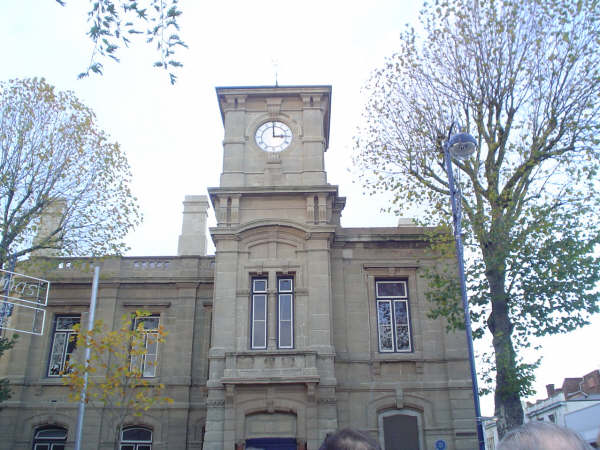 The Town Hall with a working clock